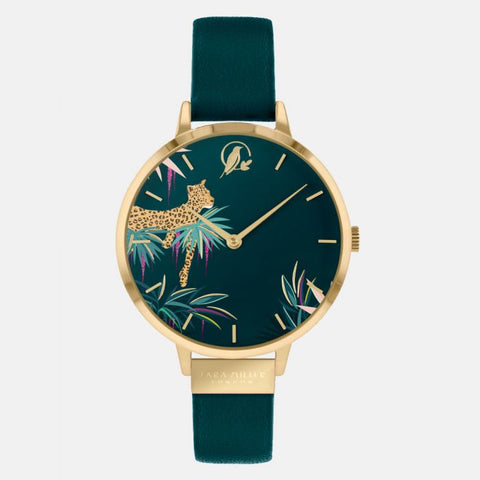 This statement design has a gold-plated case with a green genuine leather strap.