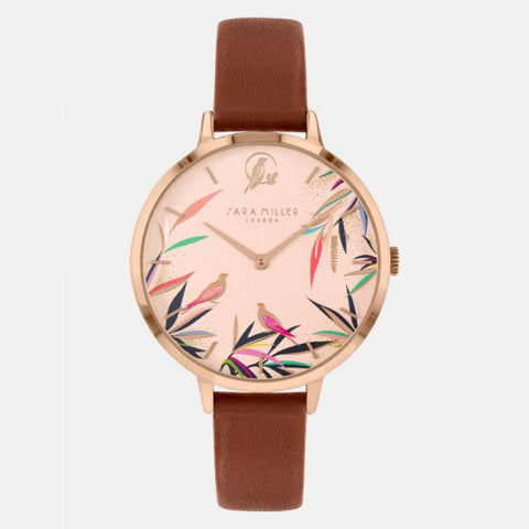 The Bamboo Tan Watch from the Sara Miller London Bamboo Garden Collection features exotic birds nestled amongst the colourful bamboo flora of an oriental garden