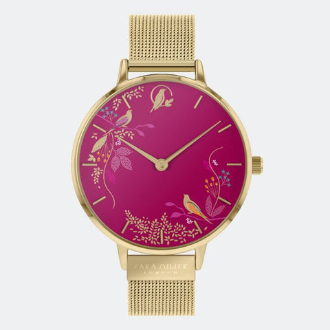 This Pink Birds watch has a gold plated case with an adjustable gold mesh strap.