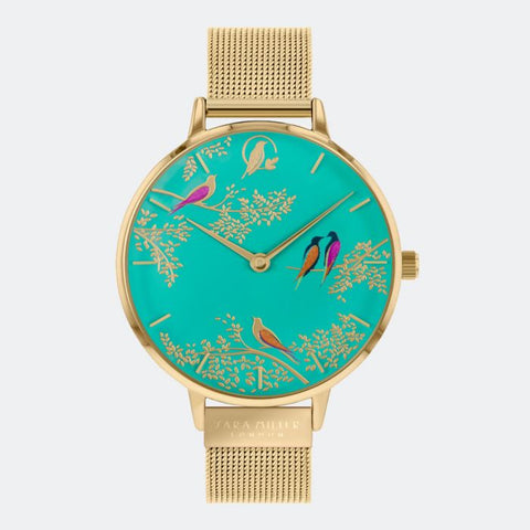 This Green Birds watch has a gold plated case with an adjustable gold mesh strap.