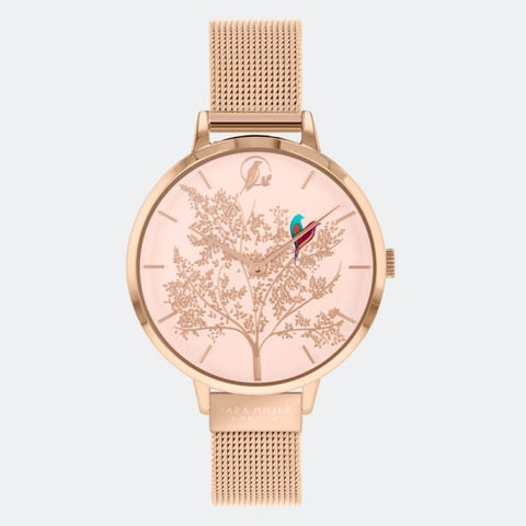 This Lovebirds watch has a rose gold plated case with an adjustable rose gold mesh strap.