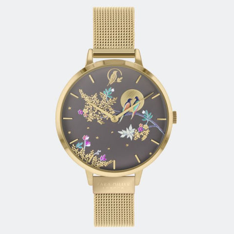 This Birds in Moon watch has a gold plated case with an adjustable gold mesh strap.