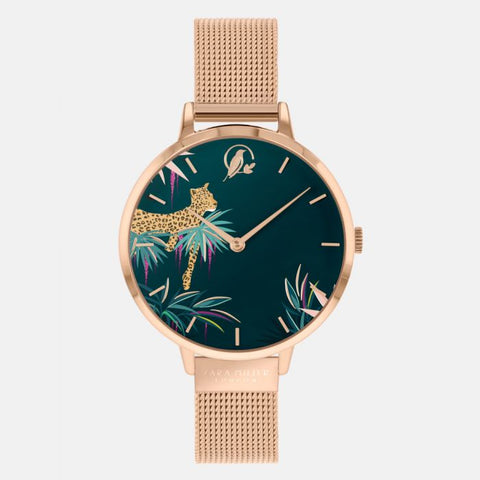 A charming leopard frolicking amid tropical foliage features on the dial of this Tahiti Collection Sara Miller London watch. This statement design has a rose gold-plated case with an adjustable rose gold mesh strap.