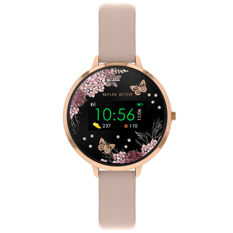 Reflex Active Series 3 Smart Watch with Flower & Butterfly Colour Screen, Crown Navigation and Nude Pink Strap