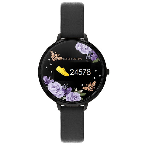 Reflex Active Series 3 Smart Watch with Flower & Bees Colour Screen, Crown Navigation and Black Strap