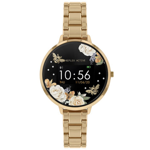 Reflex Active Series 3 Smart Watch with Floral Detail Colour Screen, Crown Navigation and Gold Plated on Stainless Steel Bracelet Strap