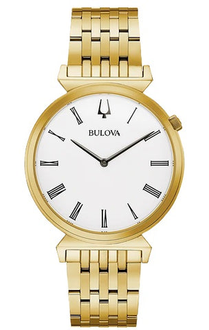 Bulova heritage timepieces, the gold-tone stainless steel Regatta features slim Roman numeral markers on a white dial