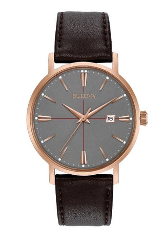 Classic Collection. In rose gold-tone stainless steel case, grey dial with red accents, three-hand calendar, double-domed mineral glass, smooth grain brown leather strap with three-piece buckle closure.