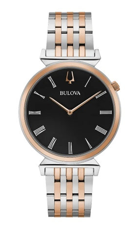 Bulova heritage timepieces, the two-tone rose gold-tone stainless steel Regatta features slim Roman numeral markers on a black dial, the crown at the 2 o'clock position, and unique angled lugs. Flat sapphire crystal, slim quartz movement, and water resistance to 30 meters.