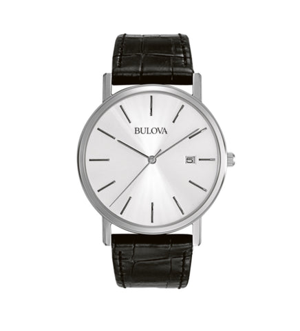 Mens Bulova Gents dress watch in stainless steel and leather. The silver dial has baton hour markers and a date function. The watch is water-resistant. At Bramley's Jewellers of Carlow