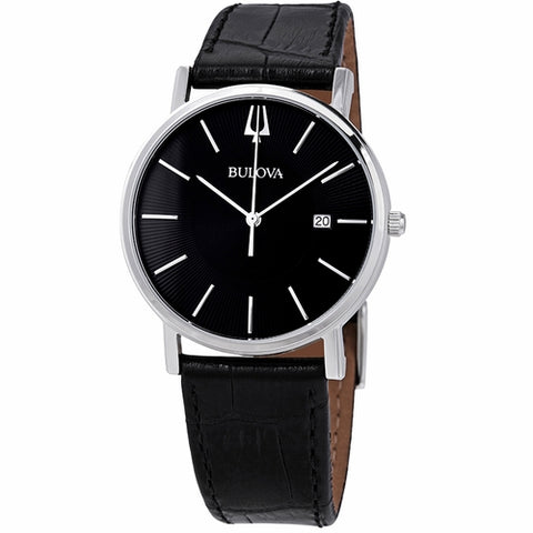Stainless steel case with a black (croco-embossed) leather strap. Fixed stainless steel bezel. Black dial with silver-tone hands and index hour markers. Dial Type: Analog. Date display at the 3 o'clock position. Quartz movement.