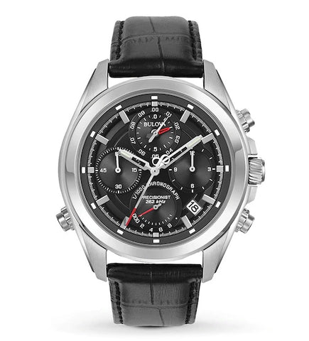This men's watch from the Precisionist Collection by Bulova features precise timing to 1/1000th of a second and a continuous-sweep second hand, powered by Bulova's unique three-prong quartz crystal Precisionist movement