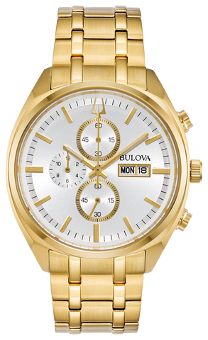 From the Classic Collection. Heritage-inspired quartz chronograph with gold-tone case, silver six-hand dial with day/date feature, domed mineral crystal, gold-tone stainless steel bracelet with short fold-over pusher closure, and water resistance to 30 metres.