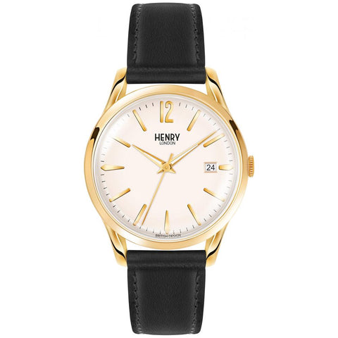HENRY LONDON'S 39MM WRISTWATCH FROM THE WESTMINSTER COLLECTION COMPLETE WITH A SILVER WHITE DIAL. WITH A GOLD CASE AND DOUBLE DOMED ACRYLIC LENS, IT IS FINISHED OFF WITH A BLACK LEATHER STRAP.