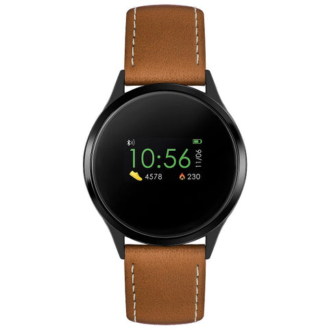 Reflex Active Series 4 Smart Watch with Heart Rate Monitor, Colour Touch Screen and Brown Leather Strap