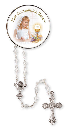 Communion Glass Crystal Rosary Beads at Bramleys of Carlow
