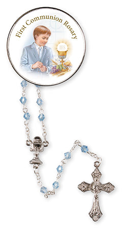Communion Blue Glass Rosary Beads at Bramleys of Carlow