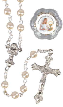 Communion Glass Imitation Pearl Rosary Beads at Bramleys of Carlow