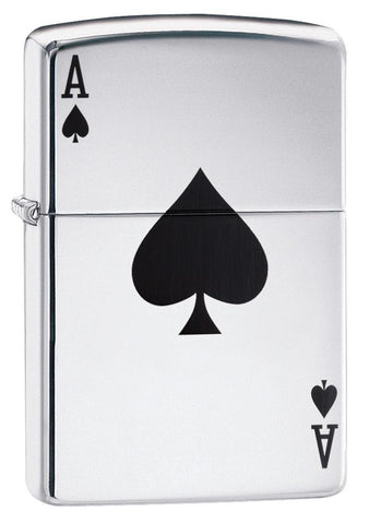 This High Polish Chrome windproof lighter has the ace of spades color imaged on it.