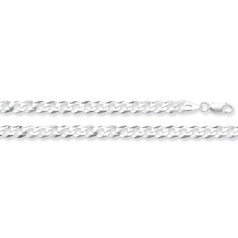 "Sterling Silver Flat Open Curb 22"" Chain."