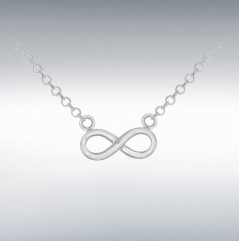 """Sterling Silver 16mm X 9.6mm Infinity Pendant with a diamond cut belcher necklace 46cm/18"""" Long at Bramley's Jewellers of Carlow"""
