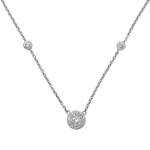 Sterling Silver Rhodium Plated Cubic Zirconia Set Necklace