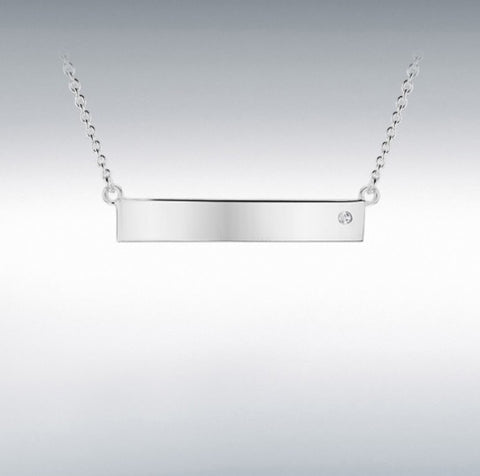 STERLING SILVER CZ 29.5MM X 5MM HORIZONTAL-BAR NECKLACE 46CM/18'' at Bramley's of Carlow
