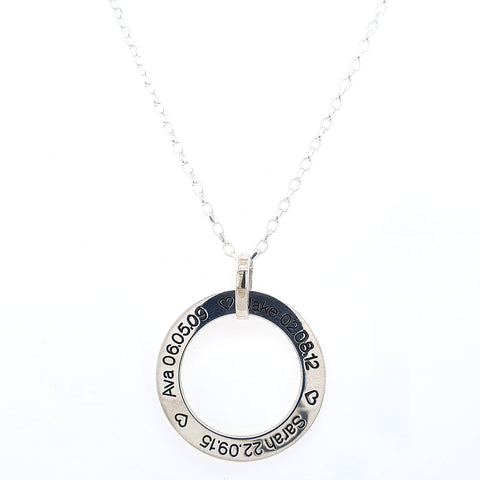 Sterling Silver Open Circle Engraved Necklace at Bramley's Jewellers of Carlow