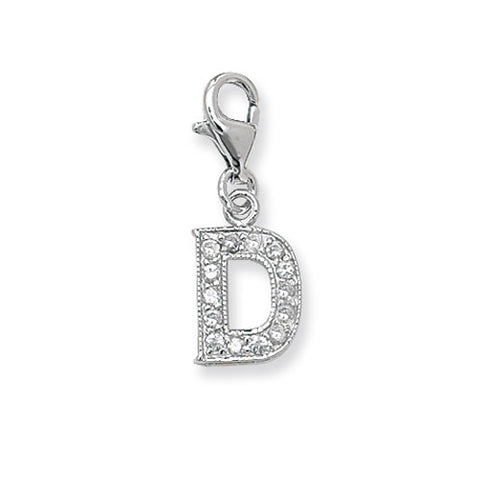 """Sterling Silver Cubic Zirconia Set Initial """"D"""" Charm With Lobster Catch."""
