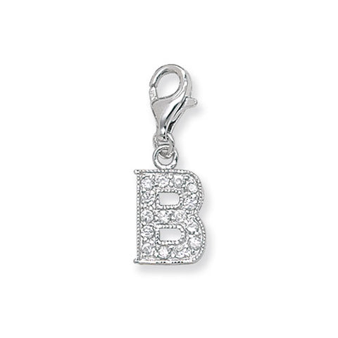 """Sterling Silver Cubic Zirconia Set Initial """"B"""" Charm With Lobster Catch."""