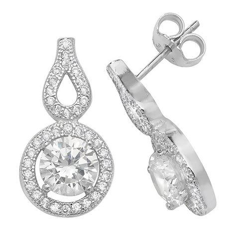 Here we have a beautiful pair of sterling silver Cubic Zirconia set drop earrings.