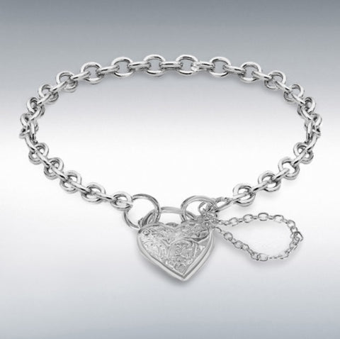 """Sterling Silver 5mm Belcher Bracelet With 13.5mm X 14mm Heart Shaped Padlock and Safety Chain. 19cm/7.5"""""""