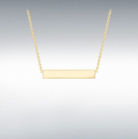 YELLOW GOLD PLATED ON STERLING SILVER, 32MM X 5MM HORIZONTAL-BAR NECKLACE 43CM/17'' at Bramleys of Carlow