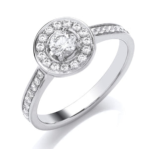 9ct White Gold Diamond Set Solitaire Ring
