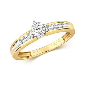 9CT Yellow Gold Solitaire Diamond Ring.