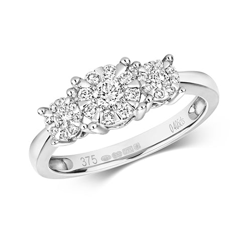 9ct White Gold 3 Stone Cluster Ring