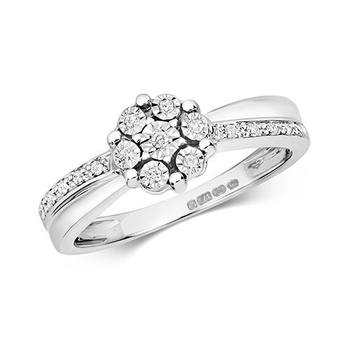 9K White Gold Illusion Cluster set Ring