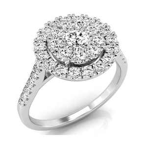 9ct White Gold Diamond Set Halo Cluster Ring