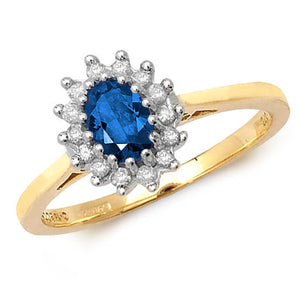 9K Yellow Gold Diamond Cluster set with a 6x4 Oval Sapphire stone, Ring