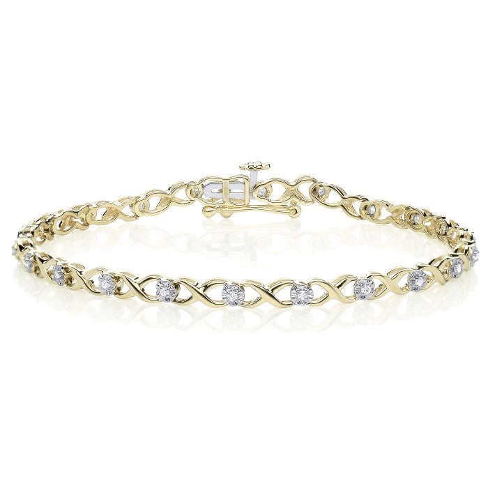 9CT Yellow Gold Illusion Set Tennis Bracelet.