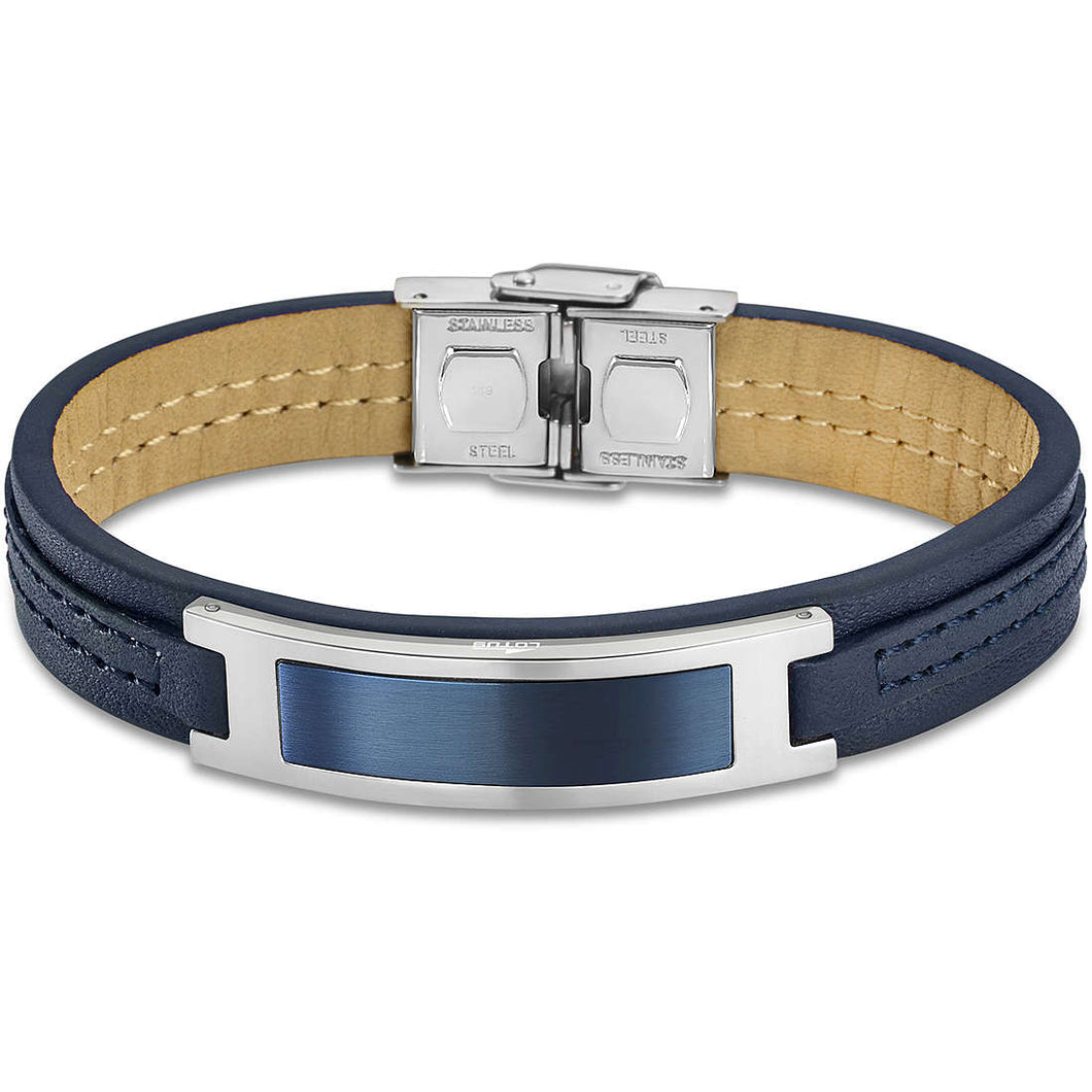 Lotus Style Man's Navy Leather and Stainless Steel Bracelet