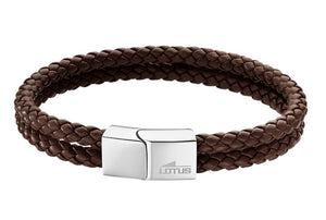 Lotus Style Man's Brown Leather 2 Band and Stainless Steel Magnetic Clasp Bracelet
