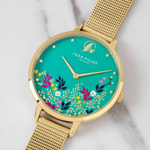 Load image into Gallery viewer, Sara Miller Green Floral Gold Mesh Watch