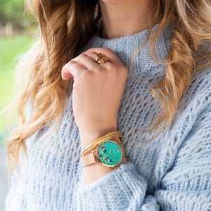 Sara Miller Green Floral Gold Mesh Watch