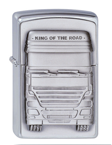 Brushed Chrome, King Of The Road Zippo Lighter