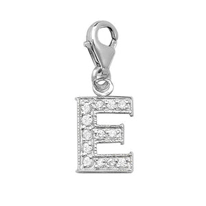 "Sterling Silver Cubic Zirconia Set Initial ""E"" Charm With Lobster Catch."