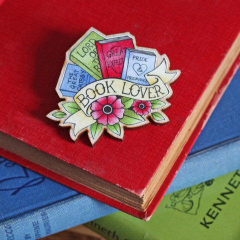 book lover brooch
