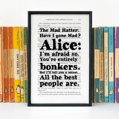Book Print - You're Entirely Bonkers - Alice in Wonderland