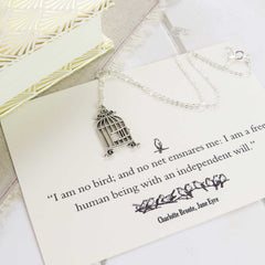 Necklace - Bird Cage - Jane Eyre - Charlotte Bronte-Jewellery-Book Lover Gifts