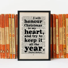 Book Print - I will honour Christmas in my heart - Dickens-Print / Poster-Book Lover Gifts
